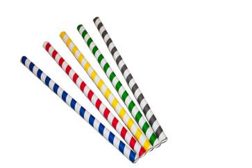 Papieren rietjes, gestreepte diverse kleuren, 21 cm,  ø 1 cm