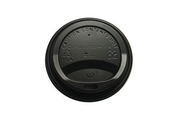Deksel zwart (PLA) t.b.v. koffiebeker 8oz / 240ml