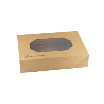 Kraft cateringdoos met PLA venster klein