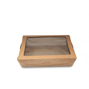 Boîte à déjeuner en kraft avec fenêtre, 1100ml
