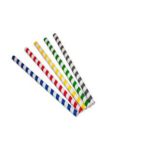 Pailles de papier, rayées de différentes couleurs, 21 cm